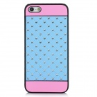 Polka Dot Pattern Protective PC + Rhinestone Back Case for Iphone 5 - Light Blue + Pink + Black