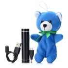 Cute Bear Doll Style External 2600mAh Emergency Power Battery Charger for Cell Phone / MP3 - Blue