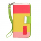 KALAIDENG Protective Flip-Open PU Leather Case w/ Strap + Card Slot for Iphone 5 - Multicolored