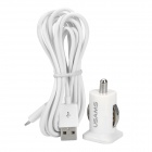 Dual-USB Car Charger Adapter + 8-Pin Lightning Charging / Data Cable for iPhone 5 - White