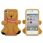 Little Bear Style Protective Silicone Case for iPhone 4 / 4S - Brown + Black + Deep Pink