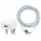 USB Power Adapter w / Charging Datenkabel für iPad 4 / iPad Mini / iPhone 5 - White (UK-Stecker)