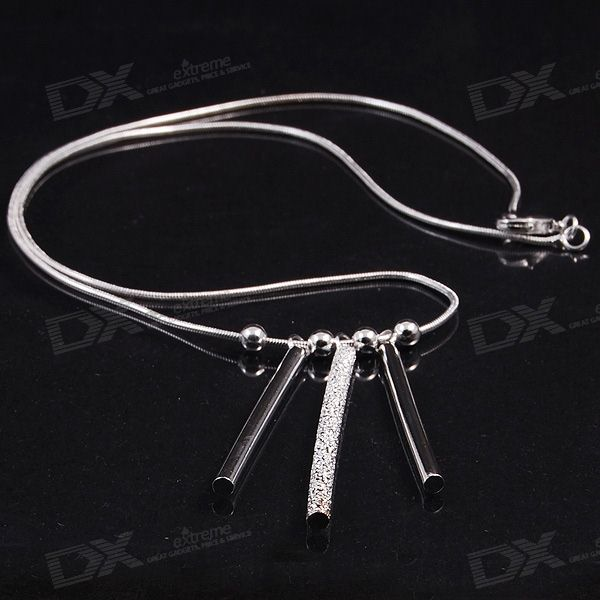 925 Silver Palted Necklace with Stylish Round Bar Pendant