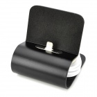 Data Sync / Charging Dock Stand w/ Retractable Lightning 8-Pin Cable for iPhone 5 - Black