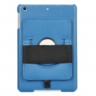 360 Degree Rotatable Handheld Protective PU Leather Back Case for iPad Mini - Deep Blue + Black