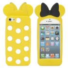 Polka Dots Pattern Bow Style Protective Silicone Back Case for iPhone 5 - Yellow + White