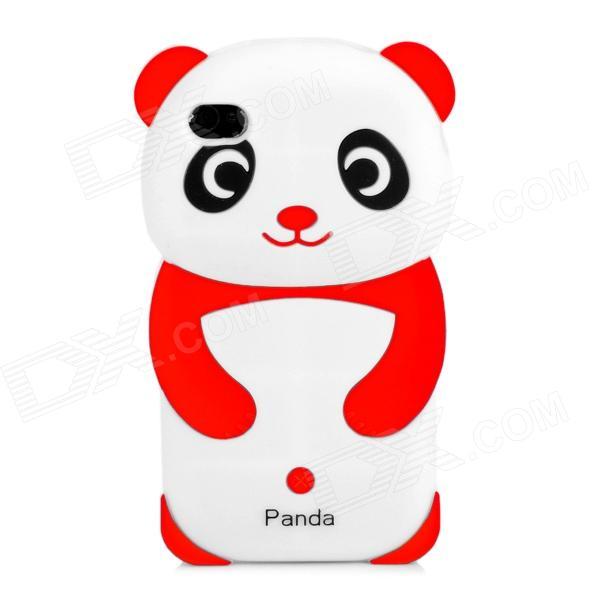 3D Panda Pattern Silicone Back Case for Iphone 4 / 4S - Red + White + Black 3d panda pattern silicone back case for iphone 4 4s red white black