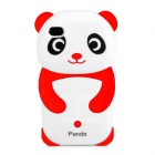 3D Panda Pattern Silicone Back Case for iPhone 4 / 4S - Red + White + Black