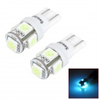 SENCART T10 1.25W 540nm 70lm 5-SMD 5050 LED Ice Blue Light Decoration Lamps (12~16V / 2 PCS)