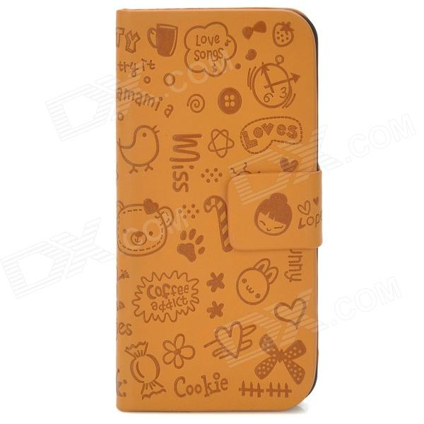 Cute Cartoon Pattern Flip-Open Protective PU Leather Case for Iphone 5 - Earth Yellow protective heart shape rhinestone decoration back case for iphone 5 brown