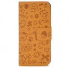Cute Cartoon Pattern Flip-Open Protective PU Leather Case for Iphone 5 - Earth Yellow
