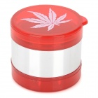 Acrylic + Aluminum 5-Layer Herb Cigarette Tobacco Grinder - Red