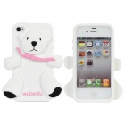 WU-1211-1 Bear Style Protective Silicone Back Case for iPhone 4 / 4S - Black + White + Pink