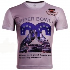 Laonongzhuang Super Bowl Letters Printing Short Sleeve T-Shirt For Men - Violet (XXXL)