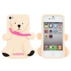 WU-1211-5 Bear Style Protective Silicone Back Case for iPhone 4 / 4S - Black + Nude + Deep Pink