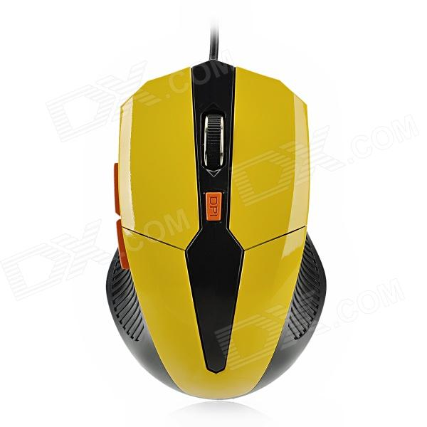 USB Wired 800 / 1200 / 1600dpi Optical Gaming Mouse - Yellow + Black (140cm-Cable)