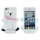 Cute Little Bear Style Protective Silicone Case for iPhone 5 - White + Black + Pink