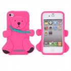 Bear Style Protective Silicone Back Case for iPhone 4 / 4S - Deep Pink + Black + Green
