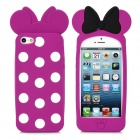 Minnie Mouse Bowknot Polka Dot Style Protective Silicone Case for iPhone 5 - Deep Pink + White