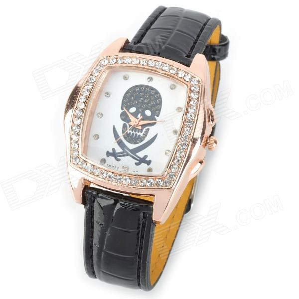 Fashion Skull White Plate Analog Quartz Wrist Watch for Women - Black + White womage chic pencil shaped hour hands style quartz wrist watch with white dial for women hot pink