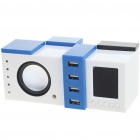 USB/4*AAA Powered Sound-Box Speaker with 4-Port USB 2.0 Hub (3.5mm Jack)