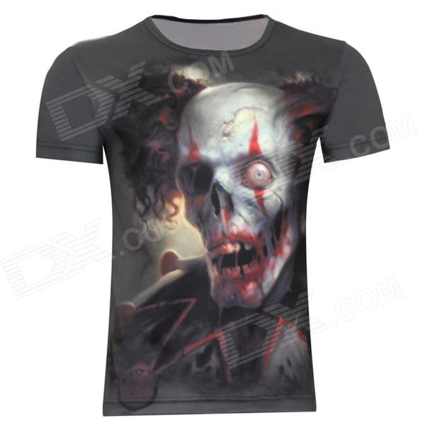 Laonongzhuang Bloody Skull Heads Printing Short Sleeve T-Shirt For Men - Deep Grey (XXXL)