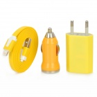 3-in-1 Car Lighter Charger + Charging Adapter + USB 8-pin Lightning Flat Cable - Yellow (EU Plug)