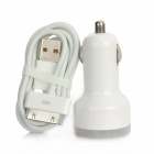 JH-02 Dual USB Car Lighter Charger + 30-pin USB Cable for iPhone 4 / iPad - White