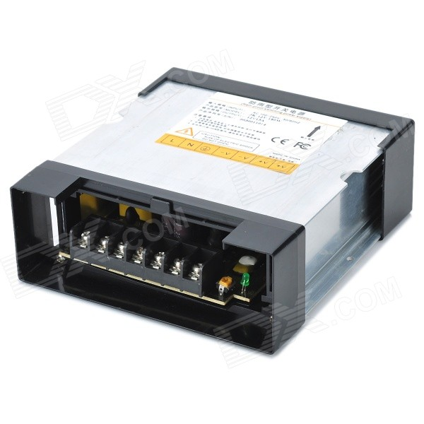 12V 15A Rain-proof Switching Power Supply - Black + Silver (AC 100~240V)