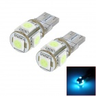 SENCART T10 1.25W 70lm 5-SMD 5050 LED Ice Blue Car Backup Light (12~16v / 2 PCS)