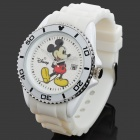 Original Disney Mickey Silikon-Band Analog Quarz-Armbanduhr für Frauen - White