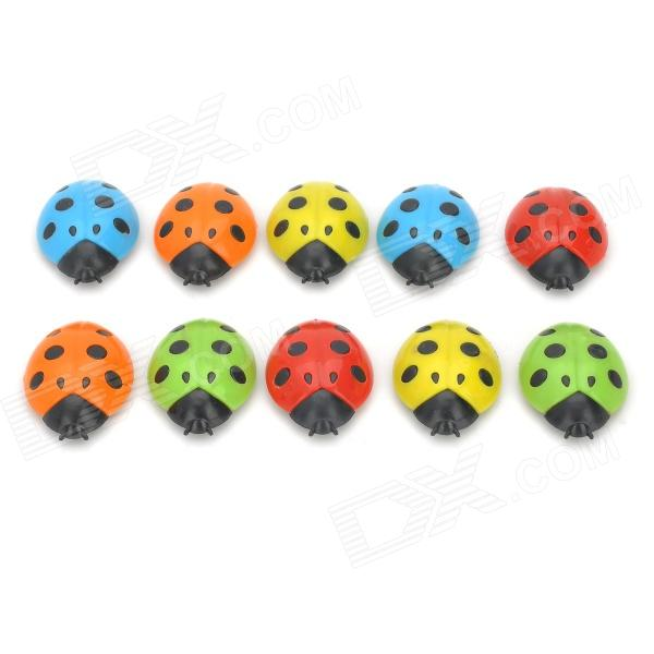 Funi CT-336 Lady Beetle Shape Magnet Stickers - Red + Orange + Green + Blue + Yellow (10 PCS)