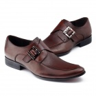 Shengkang 1919-28 Fashionable Cow Leather Dress Shoes - Dark Brown (EU Size-42)
