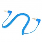 3.5mm Male to Male Stereo Audio Coiled Cable - Blue (154cm)