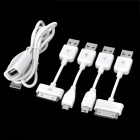 5-in-1 Charging / Data Sync-Kabel für iPhone / iPod / Samsung Handy / Tablet PC + More - Weiß