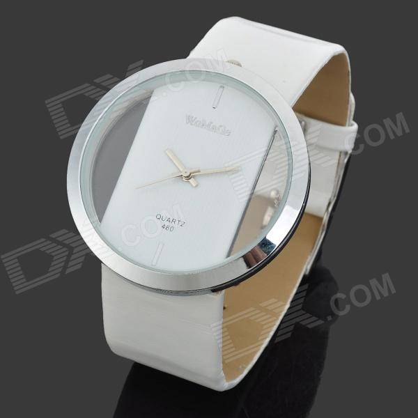 PU Leather Band Zinc Alloy Analog Quartz Wrist Watch for Women - White