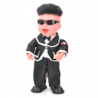 Gangnam Style Figure Electric Music Dancing Toy - Black + Off White (3 x AA)