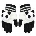 Cute Panda Shape 3-Finger Touch Screen Winter Gloves for Iphone / Ipad - Black + White (Pair)