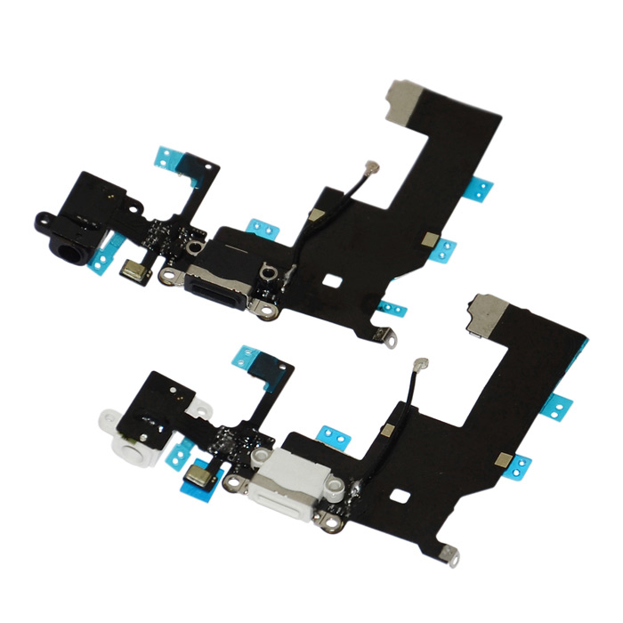 Replacement Charging Dock Port Connector Flex Cable for Iphone 5 - White + Black (2 PCS) replacement charging tail plug connector flex cable for iphone 6 4 7 black blue multi colored