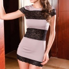 2375 Elegant Sexy Lace Fashion Cocktail Club Dress - Light Purple + Black