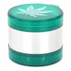 Marijuana Leaf Pattern 5-Layer Aluminum Alloy Cigarette Tobacco Herb Grinder - Silver + Dark Green