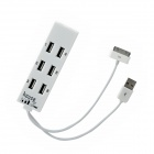 1210-12 USB 2.0 Hi-Speed 8-Port Hub w/ USB + iPhone Cable - White (15cm-Cable)