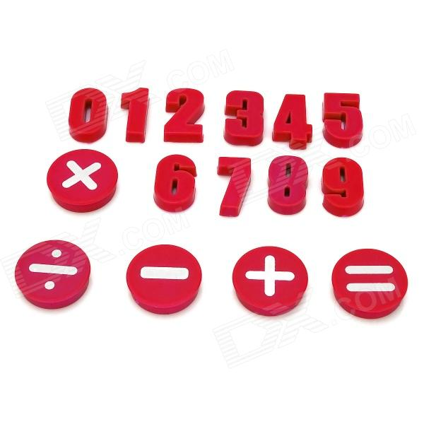 Funi CT-992 Arabic Numerals Numbers Symbol Shape Magnet Stickers - Red (15 PCS)
