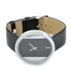 Fashion 2-Pointer PU Leather Band Zinc Alloy Analog Quartz Wrist Watch for Women - Black