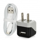 AC Power Adapter + USB Data / Charging 8-Pin Lightning Cable for iPhone 5 - Black + White (US Plug)