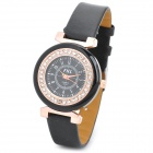 Fashion PU Leather Band Rhinestone Zinc Alloy Analog Quartz Wrist Watch for Women - Black