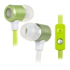 F2026 Stylish In-Ear Flat Cable Earphone w/ Microphone for Iphone / Cell Phone - Green (3.5MM Plug)