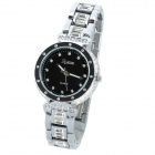 EGNIAN EG-0911 Rhinestone Stainless Steel Band Quartz Analog Wrist Watch - Black (1 x SR626SW)