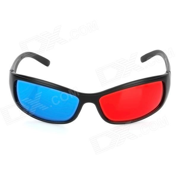 TengLang Stylish Professional Lens Anaglyphic Red + Blue 3D Glasses - Black