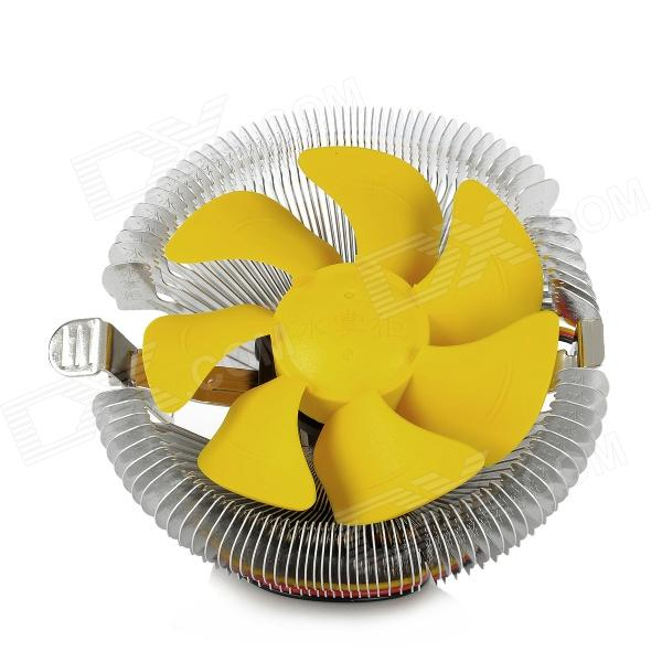 HengShan B90 CPU Cooling Cooler for Intel / AMD Desktop Computer - Yellow + Silver new fan e i5 aluminum htpc computer case e350 h61 hd perfect match i3 i7 e i5